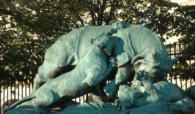 Paris 1er cain rhinoc ros - Sculpture jardin des tuileries ...